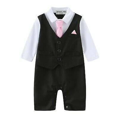 Baby Boy Formal*Party*Wedding*Tuxedo Waistcoat 1pc Outfit Suit 0-24 Months