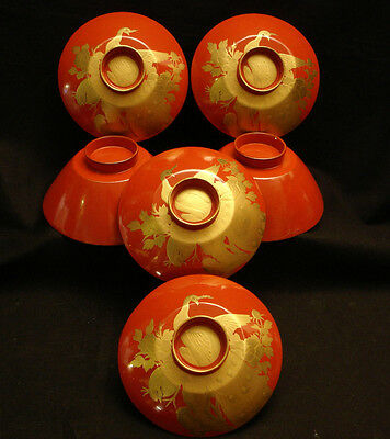 """Vintage Japanese Showa Period Lacquered Wood Cover Bowl 5"""" Diameter Set Of 4"""