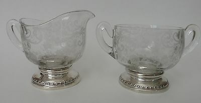Cambridge Etched Glass and Sterling Silver Creamer and Sugar Bowl CHANTILLY