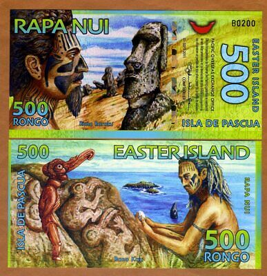 Easter Island, 500 Rongo, 2012, Polymer, New, UNC   Redesigned