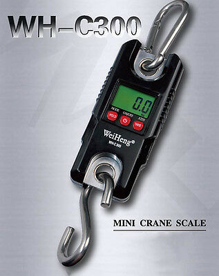 Crane Scale Industrial Heavy Duty 300kg 0.1kg LCD Hook Hanging Portable Digital