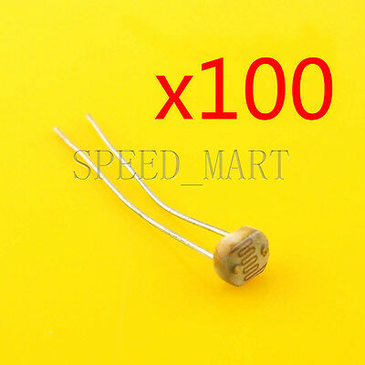 100 pcs Photoresistor LDR CDS 5mm Light-Dependent Resistor Sensor GL5528 Arduino