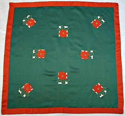 """VINTAGE CHRISTMAS POINSETTIAS CUT EMBROIDERY LAME GOLD GREEN RED 32"""" TABLECLOTH"""