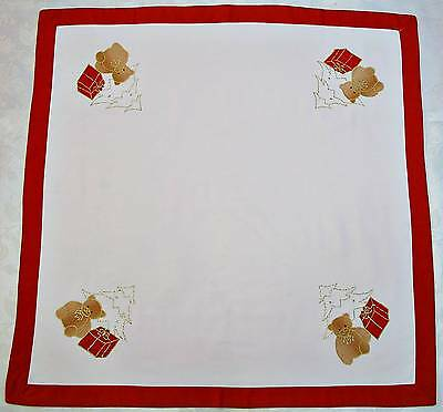 """VINTAGE CHRISTMAS TEDDY BEAR GIFTS EMBROIDERY LAME GOLD RED BROWN 32"""" TABLECLOTH"""