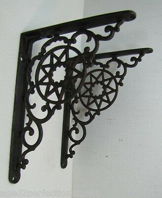 Old Cast Iron Star Scroll Bracket 9 Pointed *Star Architectural Hardware Element