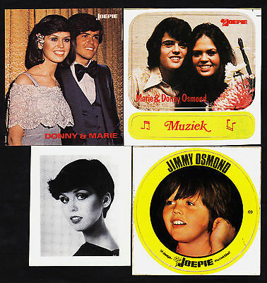 8 1970's European Donny & Marie/The Osmonds Rock/Pop Star Cards/Stickers