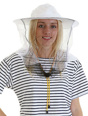 2 x Beekeeping White cotton bee hat and Veils with TOGGLE
