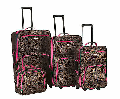 Rockland 4 Piece Luggage Set Pink Leopard