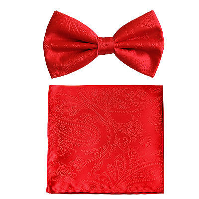New formal men's pre tied Bow tie & hankie set paisley pattern red prom wedding