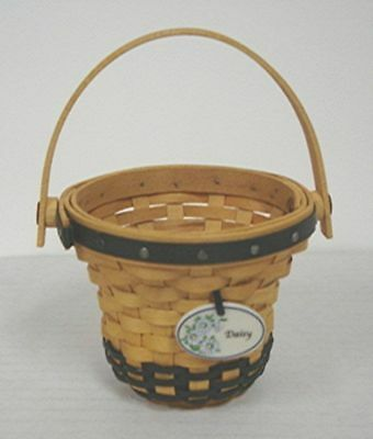Longaberger Mini DAISY Basket SIGNED by Dave's siblings Jeff Wendy May Miniature