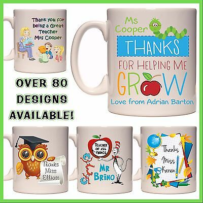 Personalised Teacher Mug - Any Name - Many Designs - School, Thank you Gift Idea