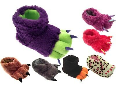 Boys Girls Kids Childrens Novelty Xmas Slippers Boots Fluffy Monster Claw Feet