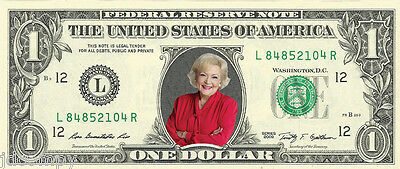Betty White (Golden Girls / Hot in Cleveland) {Color} Dollar Bill - REAL Money!