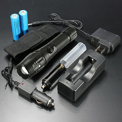 2000 Lumen CREE XM-L T6 LED Flashlight Torch 18650 Battery + Charger + Holster