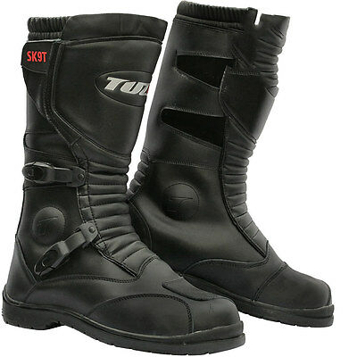 Motorcycle SK9T Motorbike Trail Touring Waterproof Black Leather Boots Size UK 8