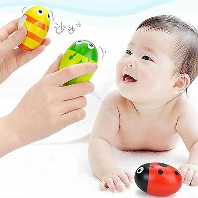 1 X Wooden Maracas Sand Egg Music Instrument Percussion Shakers Gift For Child