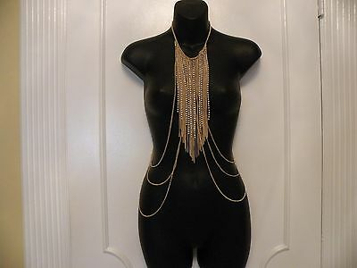 Bebe - Waterfall Gold and Rhinestone Chest Necklace - NWT