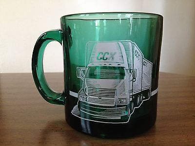 Vtg Clear Green Glass CCX Freight Truckers 18 Wheeler Coffee Mug Cup Made in USA