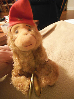 Vintage Japan WORKING! Wind Up Monkey 6 inch Toy Cymbals marked Japan