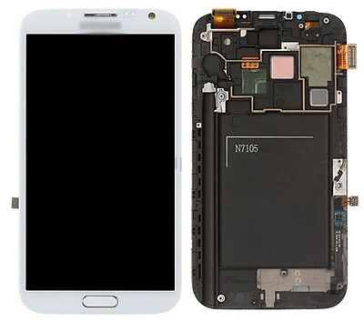 +Frame White Lcd Screen Touch Digitizer Assembly for Samsung Galaxy Note 2 N7105