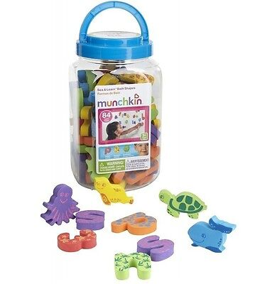 1 Set 84Pcs Munchkin Sea & Learn Shapes Letters and Numbers Bath Toy
