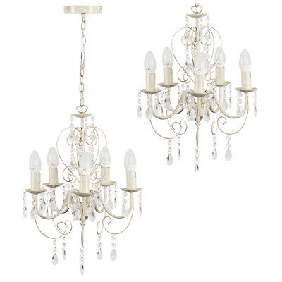 Ornate Vintage Style White Cream 5 Way Ceiling Pendant Light Chandelier Fitting