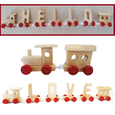 Personalised Train Alphabet Name Kids Wooden Letters Christening Birthday Gift