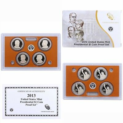 2013 S Presidential Dollar Proof Set 4 Coins W/Box And COA