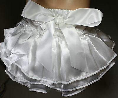 Baby Toddler Satin Ruffle Bloomers,Frilly Nappy Cover/Christening  WHITE & PINK