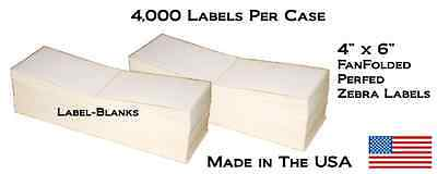 "8000 Fanfold 4"" x 6"" Direct Thermal Labels. Shipping / Barcode Labels Zebra UPS"