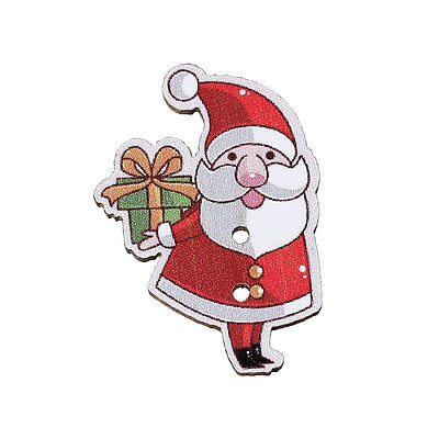 82D UK 10 LARGE SANTA//FATHER CHRISTMAS PAINTED WOOD BUTTON~Sewing~Embellishment