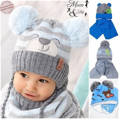 NEW Cute Kids Baby Boys Hat Knitted Autumn Winter Hooded Cap with Scarf Tie up