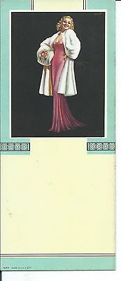 J-012 - Pretty Pin-Up Girl in Evening Dress, 1940's, Advertising Ink Blotter