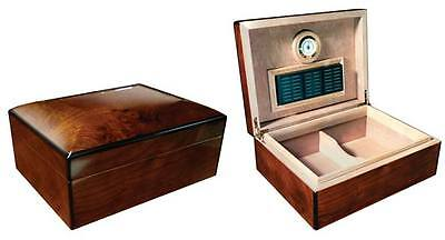 New Napoli - 75 Count Cigar High Gloss Walnut Burl Humidor Box W/arched Top