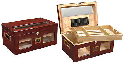 NEW VALENCIA DIGITAL- 120 COUNT CIGAR GLOSSY CHERRY HUMIDOR BOX W/BEVELED GLASS