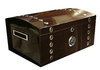 NEW MONTGOMERY - 150 COUNT STUDDED CHEST CIGAR HUMIDOR BOX W/ POLISHED HARDWARE