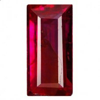 AAA Rated Baguette Faceted Bright Red Lab Created Ruby (Size 3x2mm to 6x3mm)