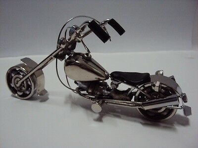 #D4 Hand Carved Metal Art Model Motorcycle HARLEY DAVIDSON Christmas Gift made