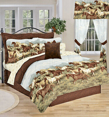 WESTERN PONY HORSE 6-8p Girls Equestrian Brown COMFORTER Bedding Set+Sheets+Sham