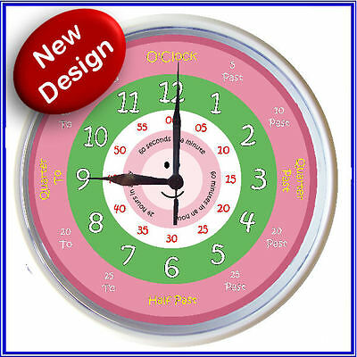 Learn to tell time What the Time Clock PINK GIRLS 25cm