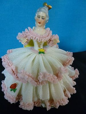 """DRESDEN LACE  FIGURINE 4-1/2"""" high    ANTIQUE PORCELAIN ~  MADE IN GERMANY"""