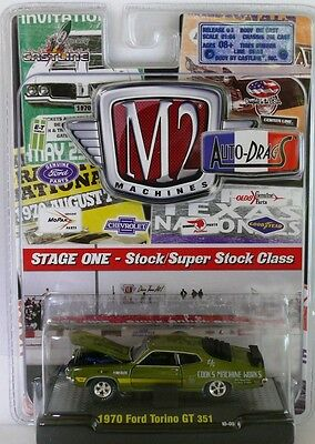 1970 Ford Torino GT 351 DRAGS - Green 1:64 Scale M2 Diecast Auto- Drags