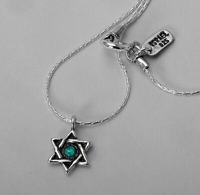 SHABLOOL ISRAEL Didae Opal 925 Sterling Silver Star of David Necklace