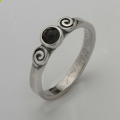 New Silver 925 Ring Fashion Onyx Black 4mm Round Cabs Size 5 6 7 8 9