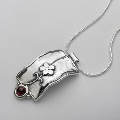 Necklace 925 Sterling Silver Garnet Red Necklace 100% Solid Fashion For Gift