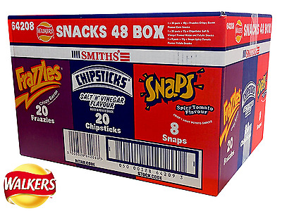 Walkers Smiths Snack 48 Variety Classic Crisps Box Frazzles Chipsticks Snaps