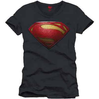 T-Shirt Superman Man Of Steel Logo 3D Anthracite S, M et L Licence Officielle