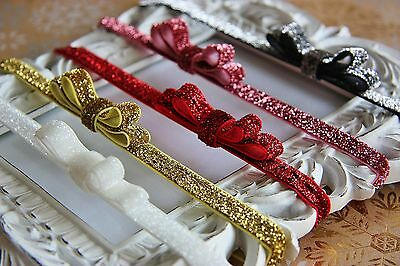 Christmas Glitter Baby Girl Elastic Headband Hairband Bow Sparkle Delicate