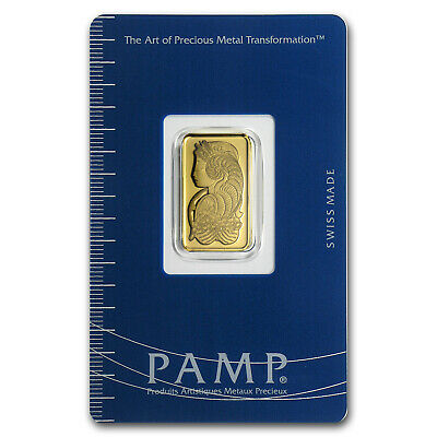 5 gram Pamp Suisse Gold Bar - Lady Fortuna - In Assay Card - SKU #19043
