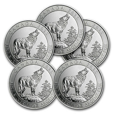 2015 3/4 oz Silver Canadian Grey Wolf Coin - Lot of 5 Coins - SKU #85030